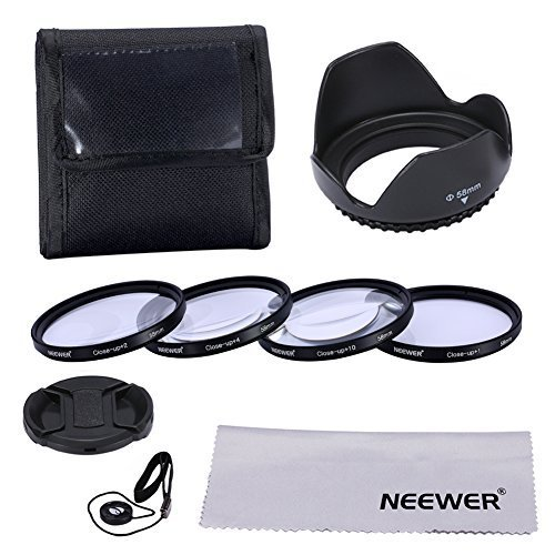 Neewer® 58mm professionale Macro Close-up Kit di accessori per Canon EOS 700d 600d 500d 450d 1100d 60d fotocamere-Include Macro Close-up Filtro Set + Custodia di trasporto + Paraluce + Copriobiettivo + Panno di Pulizia
