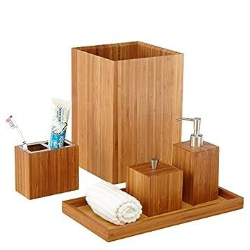 Seville Classics Bamboo Bath and Vanity Set, 5 pcs