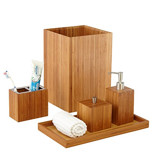 Seville Classics Bamboo Bath and Vanity Set, 5 pcs