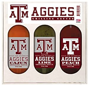 Texas A M Aggies Grilling Gift Set 3-12 Oz Cajun Lime And Peach by Hot Sauce Harry's