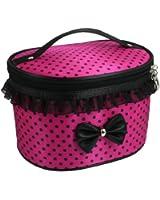 TOOGOO(R) Sac cylindrique de cosmetique avec zip en fond rose a pois noir