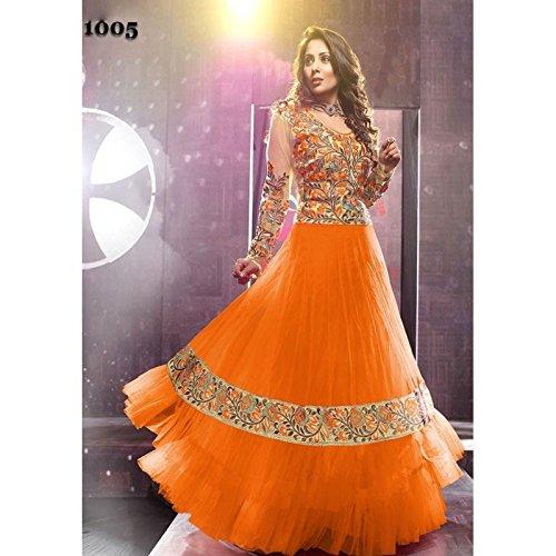 Latest Orange Floor Length Long Anarkali Suit - 1005 (SEM-474)