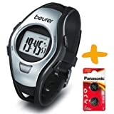 Beurer PM15 Strapless Heart Rate Monitor Sports Watch +2 Spare Batteries. (Two Sensors for accurate heart rate reading, Waterproof to 50 Metres, Time, Alarm, Stopwatch, Countdown Modes)