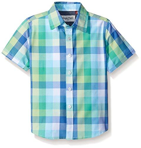 Sovereign Code Big Boys Waldo Short Sleeve Checkered Button Up Shirt, Lime Check, Medium