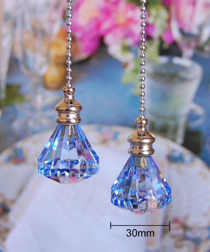 2 of blue crystal diamond ceiling lighting fan pulls chainb0