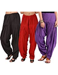 Pistaa Combo Of Women Cotton Black, Red And Purple Full Patiyala Salwar Pant Bottom