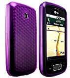 Cellbig Gorgeous Purple Diamond Gel Case Cover Pouch Mask Pocket Wallet Shell For Your LG Optimus One P500 P503