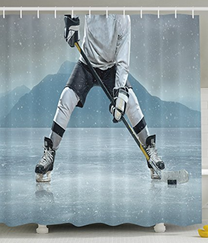 Husband Gifts from Wife Ice Hockey Player on Ice Skating Athletic Activity Frozen Outdoors Equipment Snow Game Winter Team Helmet Rink Man Sports Shower Curtain Gray Denim Blue Black Athletic Bath