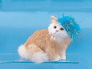 Cat Medium 1 Paw Up W/Hat Decoration Figurine Kitty Furry Lifelike New