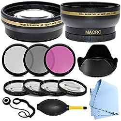 Professional 58MM Accessory Kit for Canon EF-S 18-55mm f/3.5-5.6 IS STM - Includes: 58 mm Close-Up Lens Kit, 58mm Wide Angle Lens, 2.2x Telephoto Lens, Glass Filter Kit & More