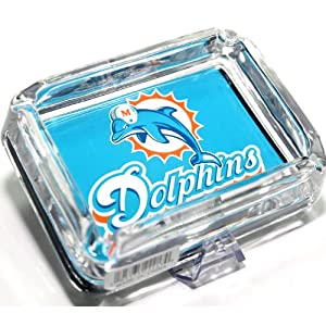 NFLS3-Gift Set - Miami Dolphins Glass Ashtray + Team Lighter with Tin Gift Box -... by Ashtrays