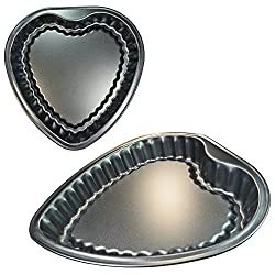 Heart Shaped Baking Pan, Bakery Cookie Cheesecake Decorative Cake Non Stick Coating, Dishwasher Safe, Rust Resistant, Measures 11 X 10.5x 1.75 (Scalloped Edges Inside)