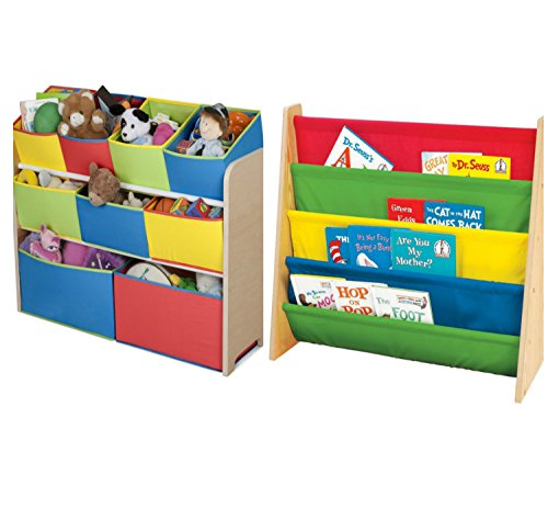 Combo of Cute Fun and Exciting Multi-color Deluxe Storage Toy Box Containers and Book Rack Chest Organizer Bins for Kids Pet Toys, Cars, Books, Magazines and Accessories - Children Home Box Units Solutions (Cars Deluxe Toy Organizer compare prices)