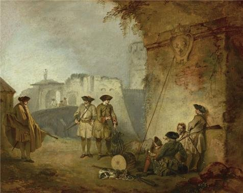 The polyster Canvas of oil painting 'Jean-Antoine Watteau - The Portal of Valenciennes, 1709-10' ,size: 8x10 inch / 20x26 cm ,this Art Decorative Canvas Prints is fit for Garage decoration and Home gallery art and Gifts (Portal Bath Tubs compare prices)