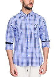 Zovi Cotton Slim Fit Casual White and Blue Checkered Shirt with Contrast Inner Sleeves(11925800801_Medium)
