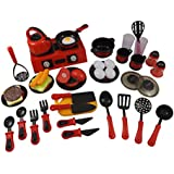 44 Piece Mini Breakfast Stove Kitchen Appliance Play Food Toy Set For Kids