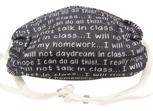 Breathe Healthy CHILD Size Mask Chalkboard Words; Allergy Mask for Kids - Filters Dust, Pollen, Allergens, & Flu Germs with Antimicrobial Germ Killing Agent