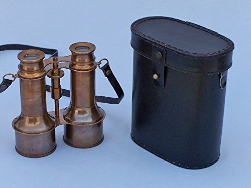 "Antique Brass Binoculars W/ Leather Case 6"" - Vintage Antique Brass Binoculars"