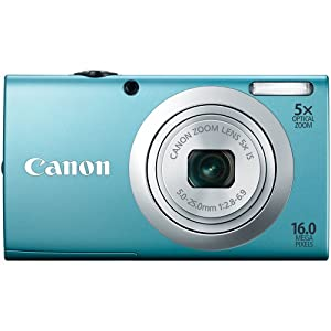 Canon Powershot A2400 Is 16.0 Mp Digital Camera With 5x Optical Image Stabilized Zoom 28mm Wide-angle Lens With 720p Full HD Video Recording And 2.7-inch Lcd Blue
