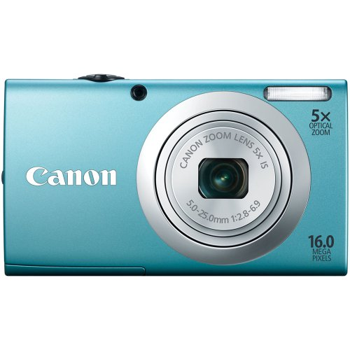 Canon 6190B005 PowerShot A2400 IS 16.0 MP Digital Camera with 5x Optical Image Stabilized Zoom 24mm Wide-Angle Lens with 720p Full HD Video Recording (Blue)