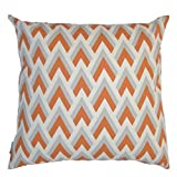 JinStyles Cotton Canvas Chevron Spike Accent Decorative Throw/Toss Pillow Cover (Orange, Grey, Beige, Square, 1 Cover for 20 x 20 Inserts)