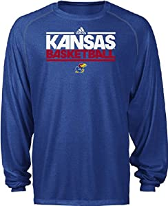 Kansas Jayhawks Heather Royal Dribbler Long Sleeve Climalite Basketball Practice... by adidas