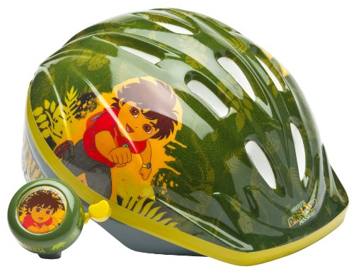 Diego Unisex-Child Microshell Helmet with Bell (Green)