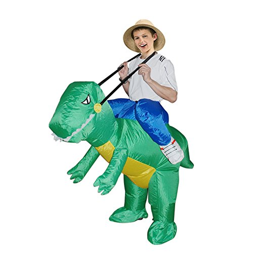 Full body dinosaur costume including hood, jumpsuit, shoe covers, and mitts Qshine Halloween Inflatable T-Rex Dinosaur Dress up Funny Simulation Luxury Cosplay Costume Suit by Qshine.