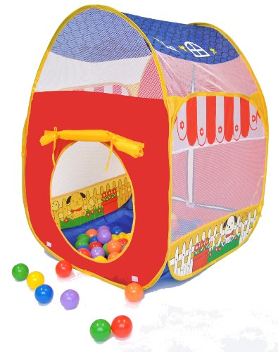 Animal Barn Twist Play Ball Tent House W/ Safety Meshing For Child Visibility & Tote