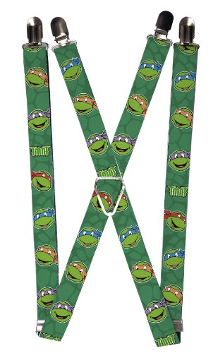 Teenage Mutant Ninja Turtles Deep Green Turtle Faces Suspenders