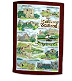 Castles of Scotland Tea Towel Scottish Souvenir Gift Balmoral Edinburgh Braemar Inverness