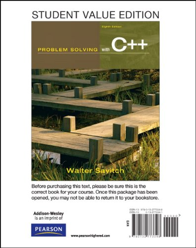 Student Value Edition for Problem Solving with C++ (8th Edition)