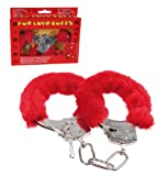 Hand Cuffs in Red - Gents, Mens, Mans, His, Lady, Ladies, Women, Her Most, Top, Best Popular Novelty, Naughty, Fun, Rude, Cheeky, Saucy, Kinky, Adult Present, Gift Ideas For Sexy, Secret Santa