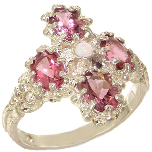 925 Sterling Silver Natural Opal and Pink Tourmaline Women's Cluster Ring