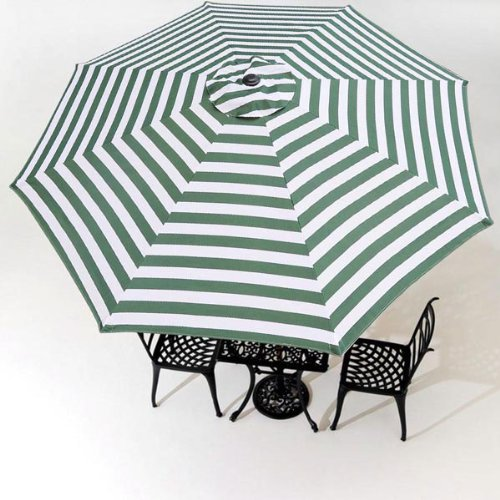 9 foot Patio Market Umbrella Replacement Canopy with Green and White Stripes