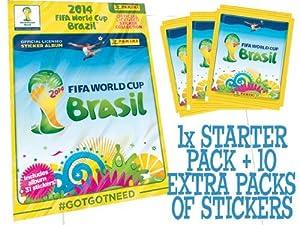 Official Panini FIFA World Cup 2014 Brazil (Brasil) Sticker Starter Pack + 10 EXTRA PACKS - 1x Album + 81 stickers
