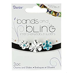 Darice 3 Piece Silver Flower Sliders, Blue/Clear Rhinestones