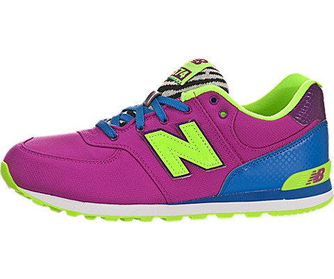 New Balance Kl574 Grade Lace-Up Running Shoe (Big Kid),Pink/Blue,5 M Us Big Kid