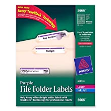 Avery® Purple File Folder Labels for Laser and Inkjet Printers with  TrueBlock(TM) Technology, 2/3 inches x 3-7/16 inches, Pack of 750 (5666)