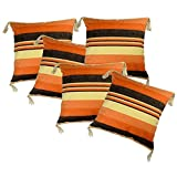 Belive-Me Cotton Beige-Orange With Tassels Cushion Covers (16X16 Inches) Set Of 5