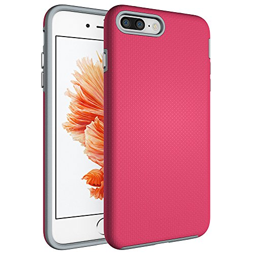 OnPrim Dual Layer Hybrid Hard PC Silicone Rubber Shock Proof Anti Slide Slim Defend Case For iPhone 7 4.7 Inth Pink
