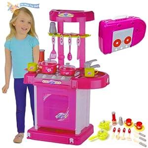 Childrens Pink Play Toy Kitchen Cooker Set Pot Pan