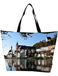 Snoogg Buildings Near The Lake Side Designer Waterproof Bag Made Of High Strength Nylon