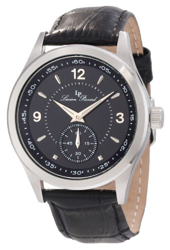 Lucien Piccard Men's 11606-01 Grande Casse Black Dial Black Leather Watch