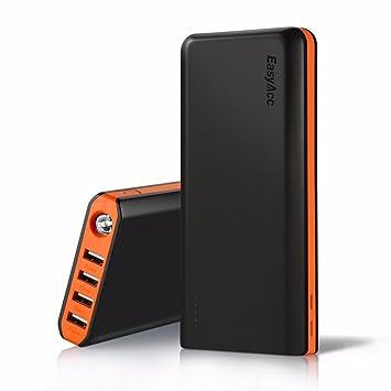 【クリックで詳細表示】EasyAcc PB20000MS 20000mAh 大容量モバイルバッテリー 4A入力 4.8Aスマート出力4USBポート同時充電 高速充電対応 高輝度LEDフラッシュライト搭載 iPhone/iPad/Galaxy/Xperia/Android/各種スマホ対応 (ブラック&オレンジ) …: 家電・カメラ
