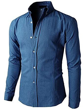 h2h mens denim slim fit button shirts of various
