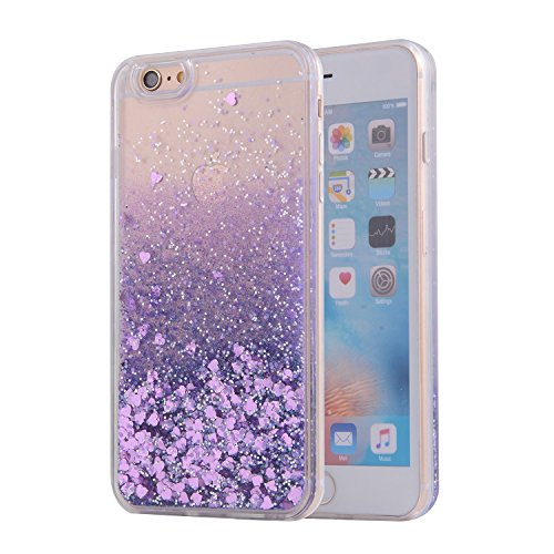 iPhone 6S Case, SAUS iPhone 6 Case, Funny Liquid Infused with Floating Bling Glitter Sparkle Dynamic Flowing Hybrid Bumper Case for iPhone 6/6S (Purple) (Clear 1 2 Bumpers compare prices)