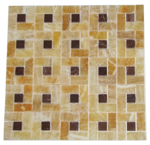Honey Onyx Pinwheel 1x2 Mosaics with Red Onyx Insert 1x1 Polished Meshed on 12x12 Tiles for Backsplash, Shower Walls, Bathroom Floors - FREE SHIPPING
