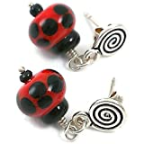 Sterling Silver and Lampwork Glass Drop Earring Ladybugs