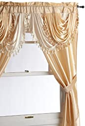 Regal Home Collections Amore 54-Inch by 84-Inch Window Set with Attached Valance, Gold